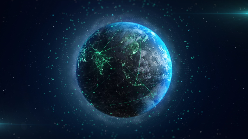 Digitalization Concept Global Technology. 3d Earth Digital Connected Network Background. Worldwide Big Data Cloud. World Connections with Light Lines. Spinning Futuristic Earth Globe Looping Animation Royalty-Free Stock Footage #1065382582