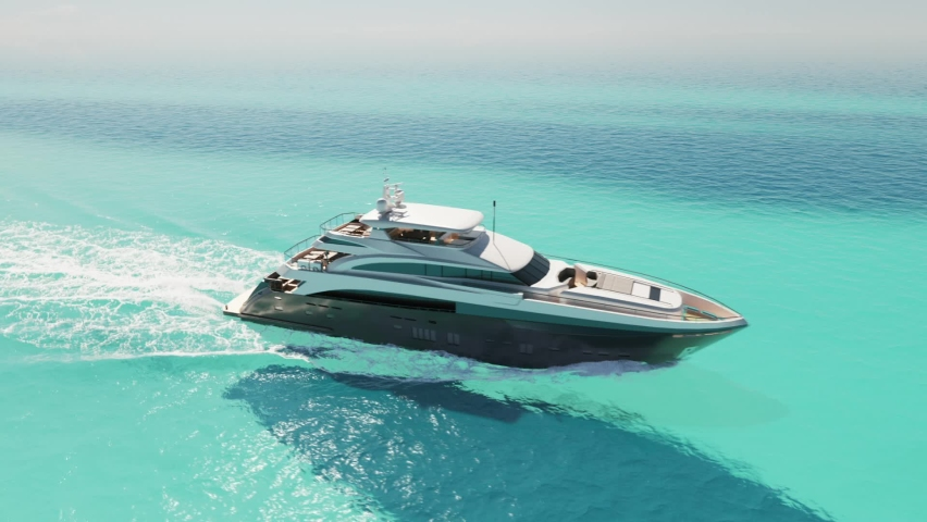 Luxury yacht cruising out at sea. Aerial view of luxury yacht cruising in turquoise lagoon. Aerial drone tracking video of luxury boat. Motor Yacht sailing on open ocean Royalty-Free Stock Footage #1065411940