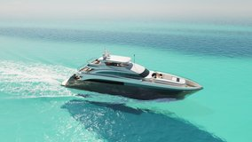 Luxury yacht cruising out at sea. Aerial view of luxury yacht cruising in turquoise lagoon. Aerial drone tracking video of luxury boat. Motor Yacht sailing on open ocean