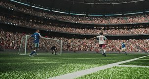 4k dynamic shot of soccer player scoring goal on the professional stadium made in 3d with animated crowd. Sunny weather.