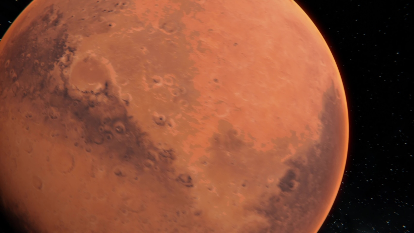Flying to the Mars tracking in shot. Close up Mars planet in open space view. 4k Mars planet 3d visualisation