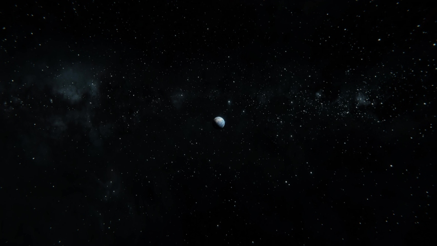 Fast tracking in Earth from space. Falling to the Earth planet view concept. Breathtaking 3d gravity illustration in 4k. Planet flying through the space
