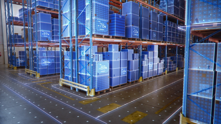 Futuristic Technology Retail Warehouse: Digitalization and Visualization of Industry 4.0 Process that Analyzes Goods, Cardboard Boxes, Products Delivery Infographics in Logistics, Distribution Center Royalty-Free Stock Footage #1065464986