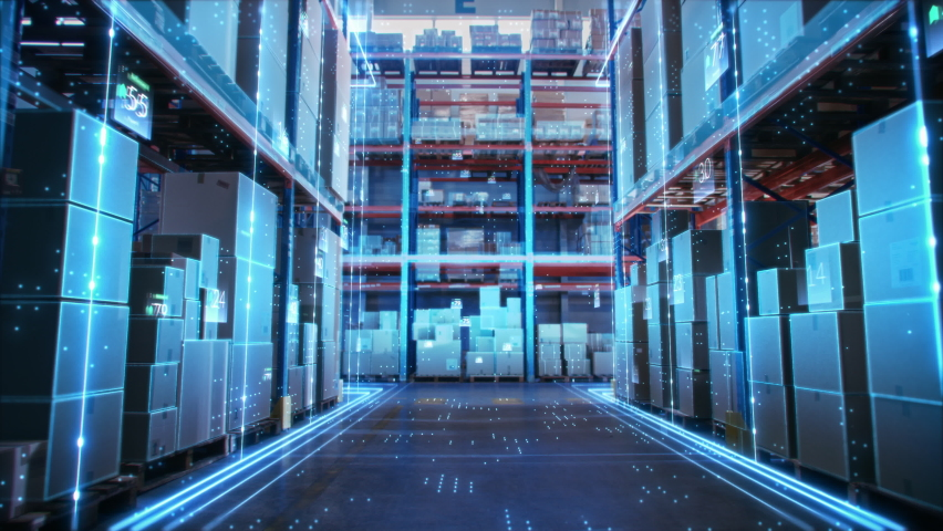 Futuristic Technology Retail Warehouse: Digitalization and Visualization of Industry 4.0 Process that Analyzes Goods, Cardboard Boxes, Products Delivery Infographics in Logistics, Distribution Center Royalty-Free Stock Footage #1065464989