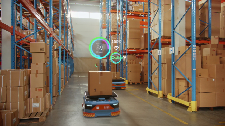 Future Technology 3D Concept: Automated Modern Retail Warehouse AGV Robots Transporting Cardboard Boxes in Distribution Logistics Center. Automated Guided Vehicles Delivering Goods, Products, Packages | Shutterstock HD Video #1065465025