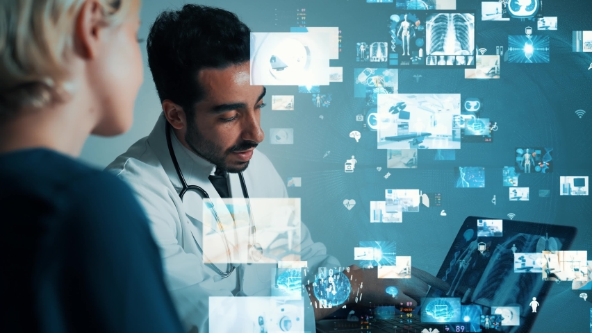 Medical technology concept. Remote medicine. Electronic medical record. Royalty-Free Stock Footage #1065469282