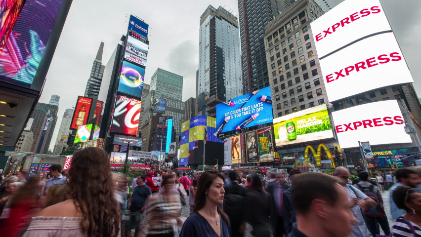 Times Square, New York, USA - Timelapse of busy Times Square mid afternoon