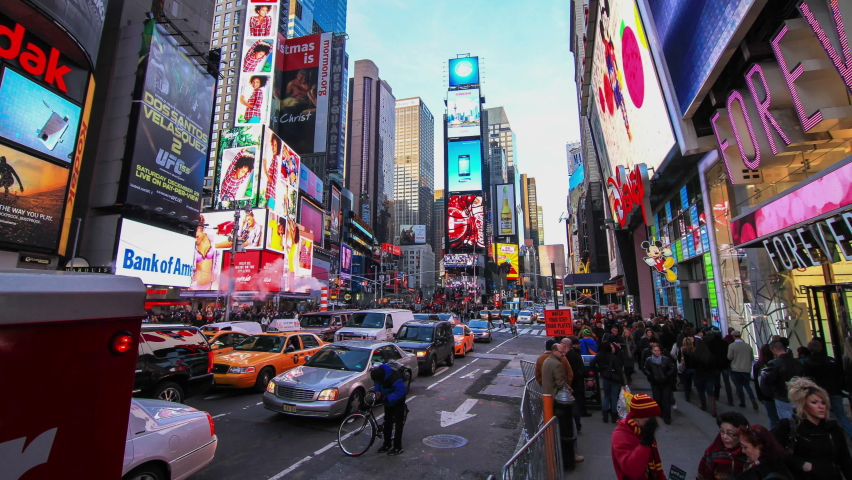 Times Square, New York, USA - Timelapse of busy Times Square as the sun sets