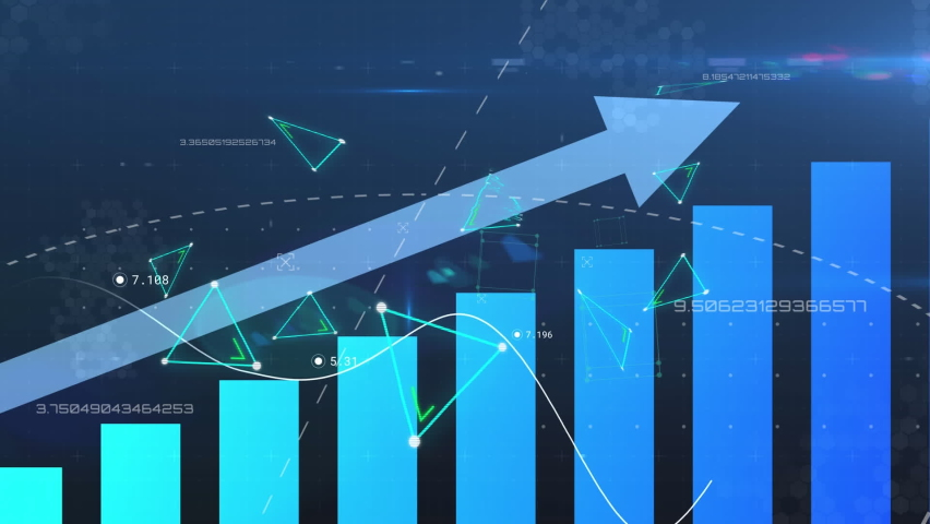 Animation of financial data processing with blue arrow ascending over floating green triangles. global finance technology digital interface concept digitally generated image.   Shutterstock HD Video #1065506260
