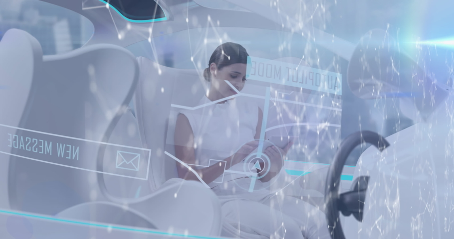 Animation of networks of connections and data processing over woman using tablet in car. digital interface global technology connection concept digitally generated image.