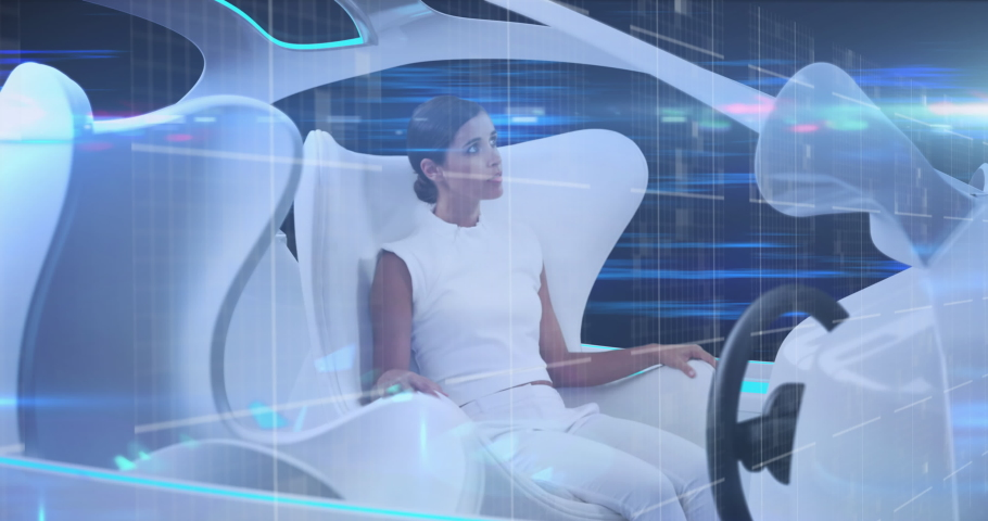 Animation of woman using tablet sitting in vehicle and data processing. global networking technology concept digitally generated image.
