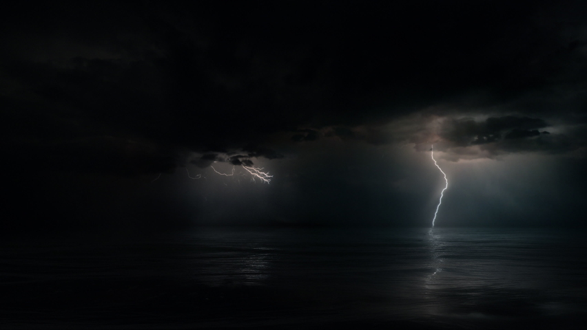 Dark mysterious monsoon cyclone storm clouds and multiple bolts of lightning. Tranquil eye of the storm above tropical Ocean at night. Looped conceptual establishing shot of powerful hurricane weather