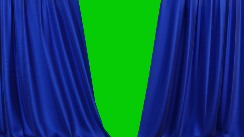 A realistic blue fabric curtain with pleats opens on a green screen. Theater curtain. 4K 3D animation Royalty-Free Stock Footage #1065532153