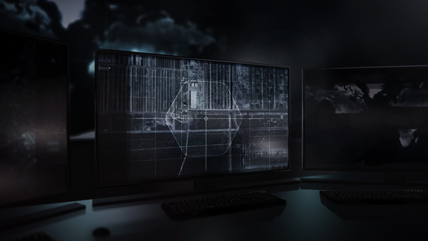 Three computer screens. The newest spying technology is used by special forces for accessing the satellites. American Tanks were spotted in the California area. USA. Computer User Interface. | Shutterstock HD Video #1065540058