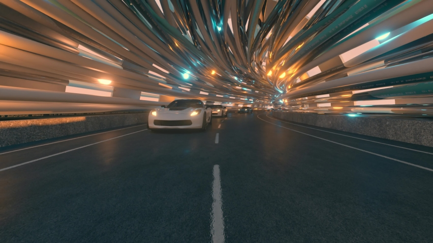 The movement of cars on a futuristic bridge with fiber optic. Future technologies concept. Business background. Pleasant natural light. Seamless loop 3d render | Shutterstock HD Video #1065552121