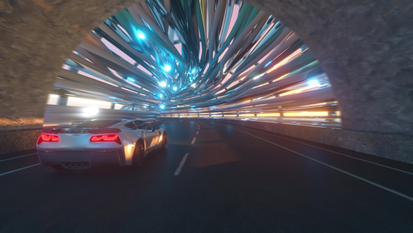 The movement of car on a futuristic bridge with fiber optic. Future technologies concept. Business background. Pleasant natural light. Seamless loop 3d render | Shutterstock HD Video #1065552157