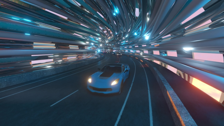 The movement of cars on a futuristic bridge with fiber optic. Future technologies concept. Business background. Pleasant natural light. Seamless loop 3d render | Shutterstock HD Video #1065552169