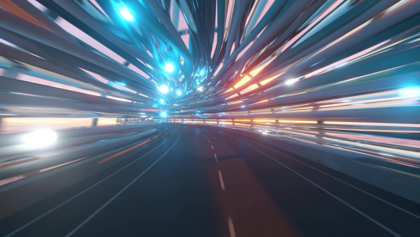 Flying in a futuristic fiber optic tunnel with a road. Future technologies concept. Business background. Pleasant natural lighting. Seamless loop 3d render | Shutterstock HD Video #1065552181