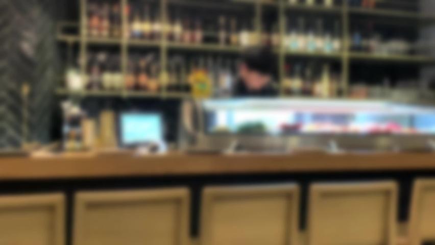 Blurred view of modern sushi bar. 4K | Shutterstock HD Video #1065593584