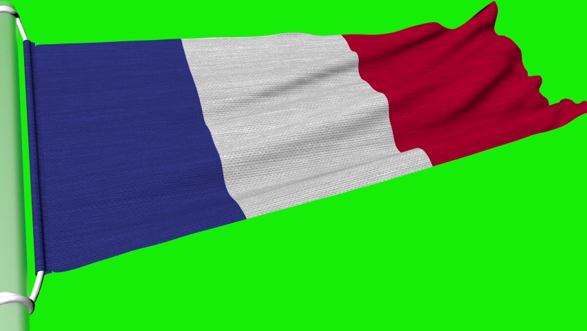 The French flag fluttered in a continuous motion of the wind.   Shutterstock HD Video #1065594991