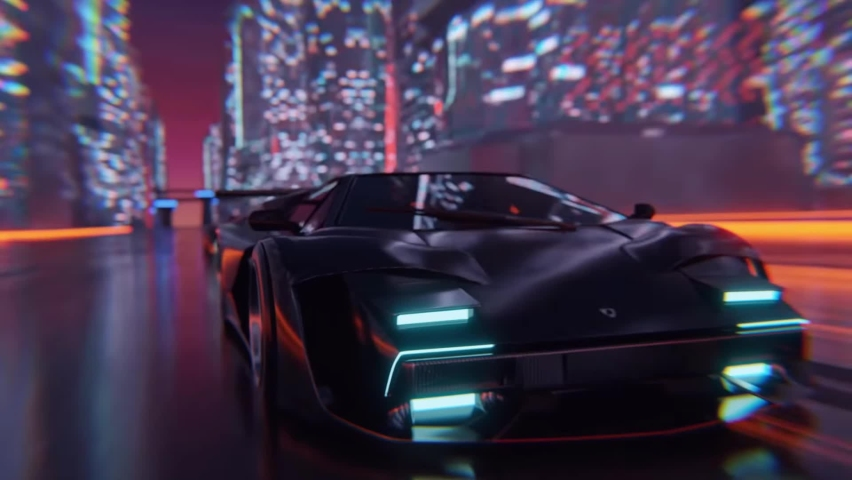 Racing car cyberpunk futuristic city road. Auto racing 3D animation cityscape motion video footage background | Shutterstock HD Video #1065600973