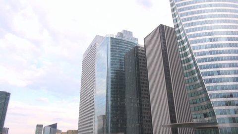 PARIS, FRANCE - June 27, 2015 Great corporation headquarters buildings, La Defense Paris, modern urban area