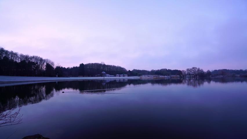Scenery of Tapis vert parc, La Courneuve, France in winter. Panning shot   Shutterstock HD Video #1065604654