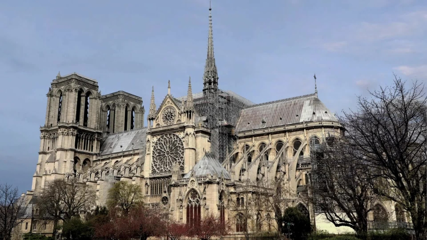 Beautiful afternoon at Notre Dame   Shutterstock HD Video #1065613972