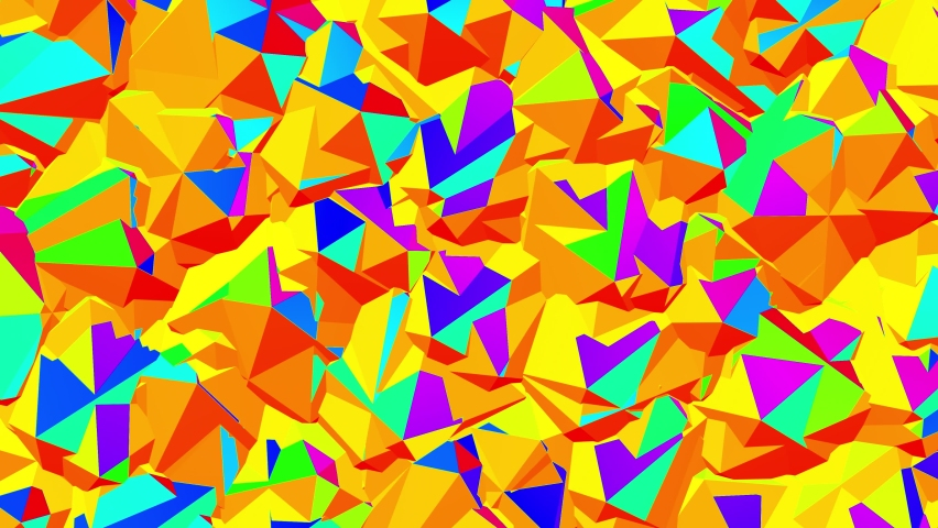 Animated background from many acid colorful Icosahedrons rotating around its axis in different directions. Perfectly looped. | Shutterstock HD Video #1065614755