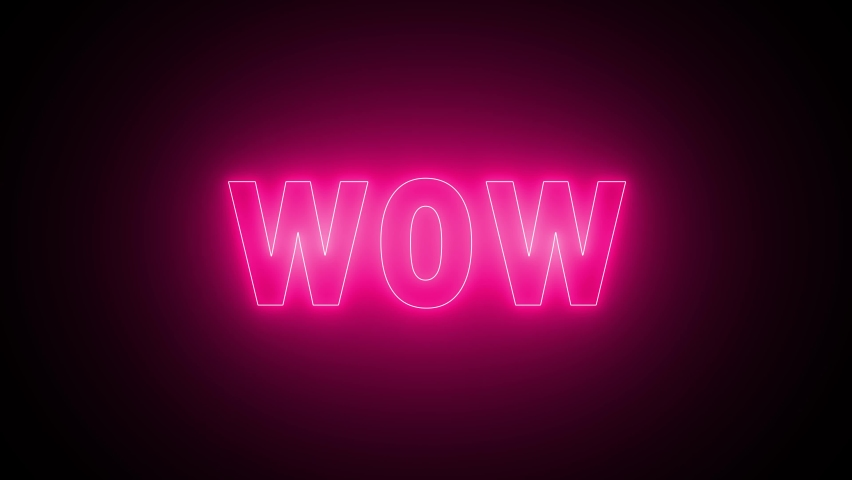 WOW neon sign banner background for promo video. Text neon lights animation promote advertising next business concept. | Shutterstock HD Video #1065614914