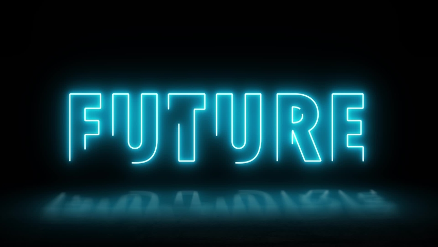 Future neon sign banner background for promo video. Text neon lights animation promote advertising next business concept. | Shutterstock HD Video #1065614917