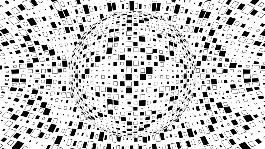 Black and white monochrome optical illusion with geometric pattern, surreal hypnotic seamless looping motion background, psychedelic trendy decorative unreal illusory delusion 3d render animation.