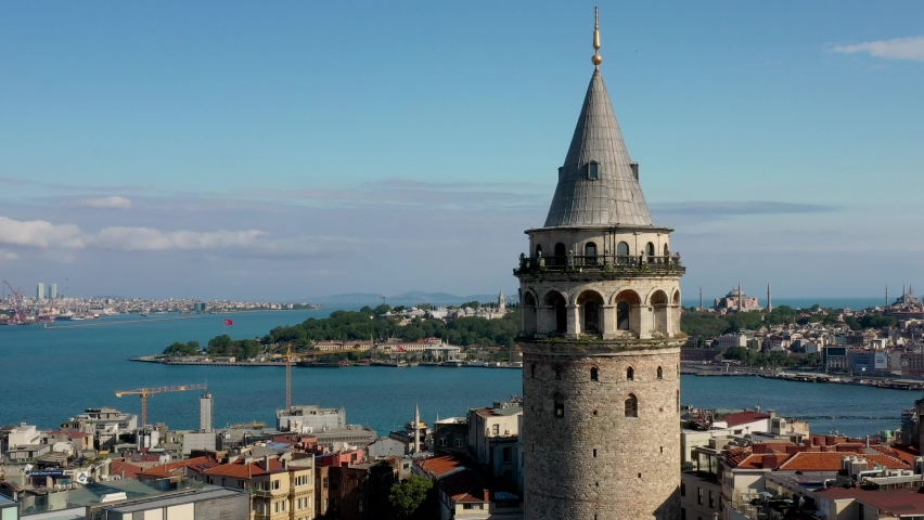 Galata Tower Istanbul Aerial View | Shutterstock HD Video #1065638131