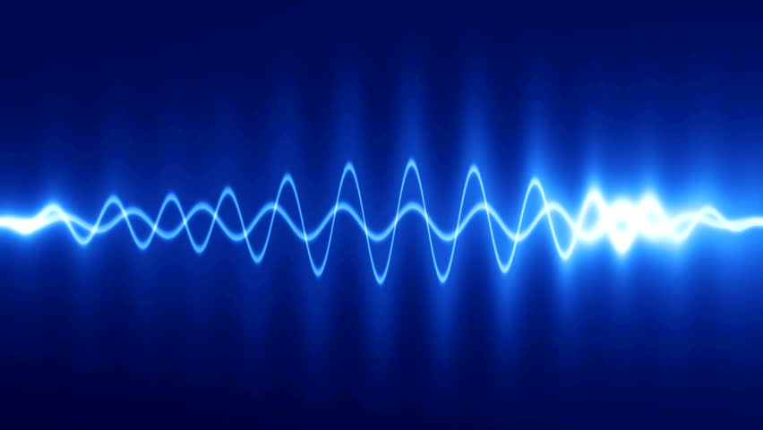 abstract background blue high-tech waveform. audio spectrum glow simulation use for music and computer calculating. Animation background with waves. seamless loop.
