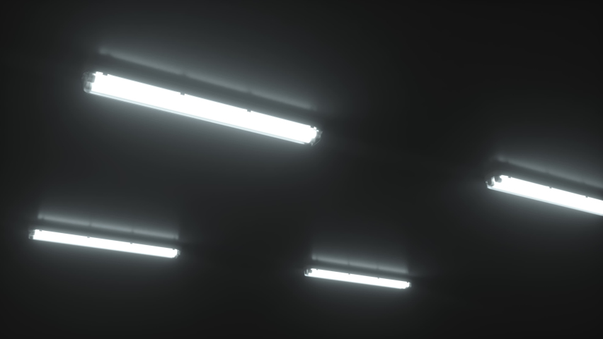 White double fluorescent light turns on alternately on the ceiling of a dark, cold industrial room. Scary twinkling neon light. Cinematic concept. Close up. Turning movement. 3d animation Royalty-Free Stock Footage #1065675064