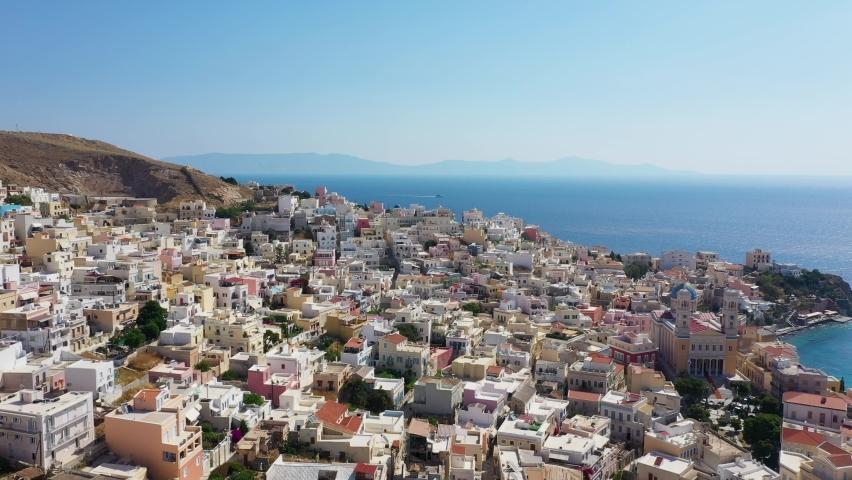 Drone flying on Syros Island in the Cyclades, Aegean Sea Greece  | Shutterstock HD Video #1065676090