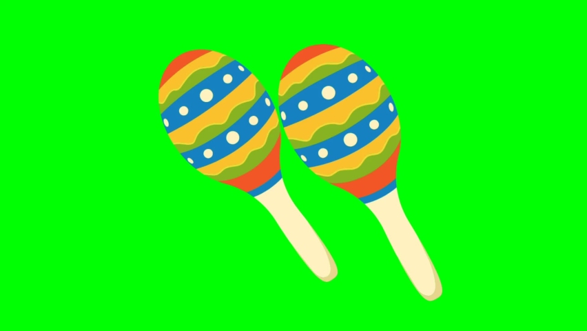 Maracas samba icon on green screen. You can easily incorporate it into your scene or video. | Shutterstock HD Video #1065683437