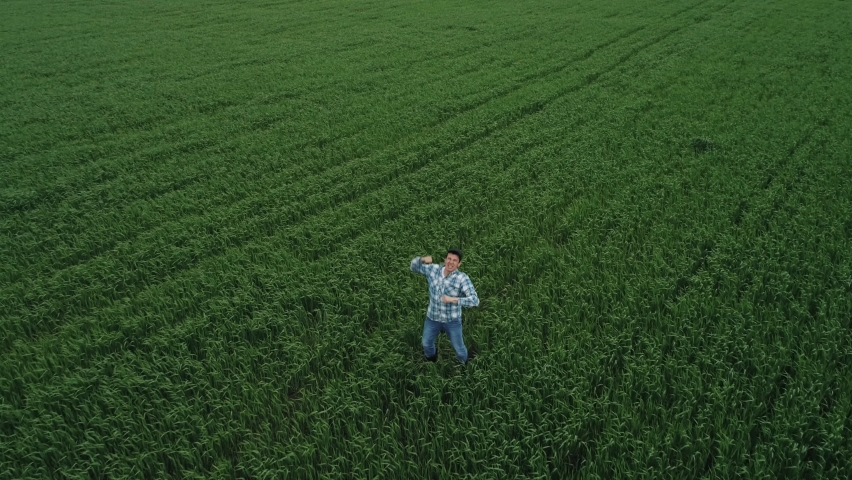 A man farmer on a green wheat field rejoices in the emergence of grain crops, jumps up. Happy agronomist on farmland, top view. The concept of agribusiness. | Shutterstock HD Video #1065688468