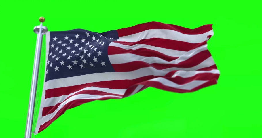 4K 3D Illustration of the waving flag on a pole of country United States  with Green Screen Chroma Key  | Shutterstock HD Video #1065691648
