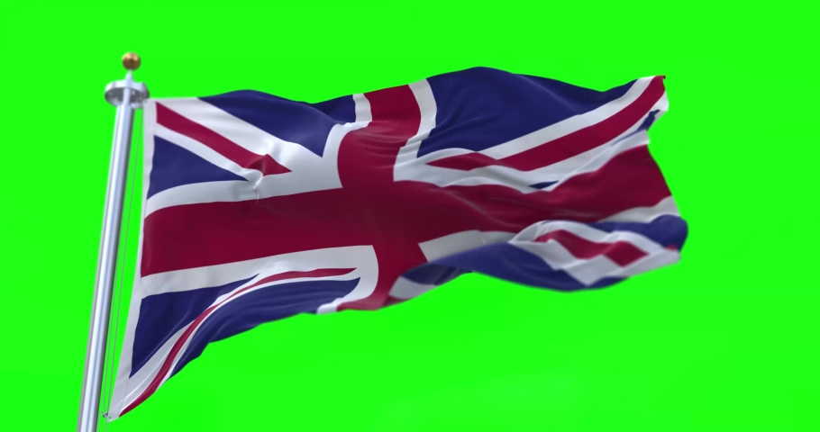 4K 3D Illustration of the waving flag on a pole of country United Kingdom with Green Screen Chroma Key  | Shutterstock HD Video #1065691951