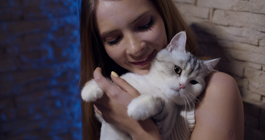 A medium shot with the portrait of a young blonde girl with a cat in her arms that she caresses and embraces. Slow motion in 4k.   Shutterstock HD Video #1065697528