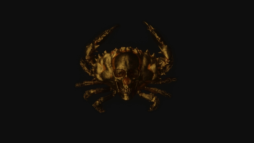 Golden crab with skull on body in the dark. Mystical video for your project. 3D render.   Shutterstock HD Video #1065697651