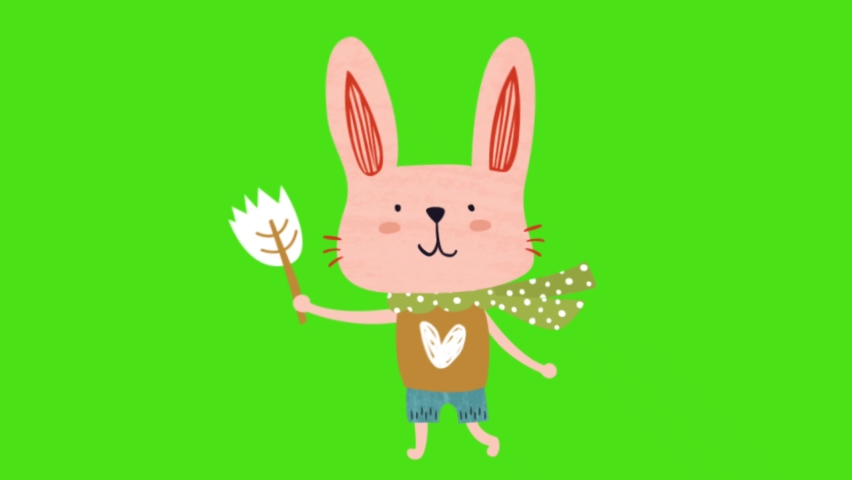 Animated video of pink cute rabbit character walking   Shutterstock HD Video #1065699901