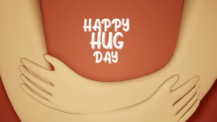 National Happy Hug Day Illustration 3d render animation Royalty-Free Stock Footage #1065703165