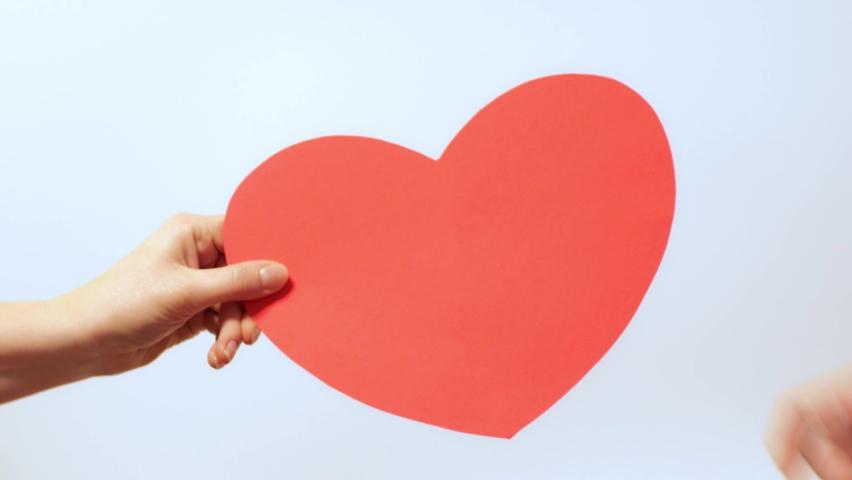 Red cardboard heart in a woman's hand, like it | Shutterstock HD Video #1065706762