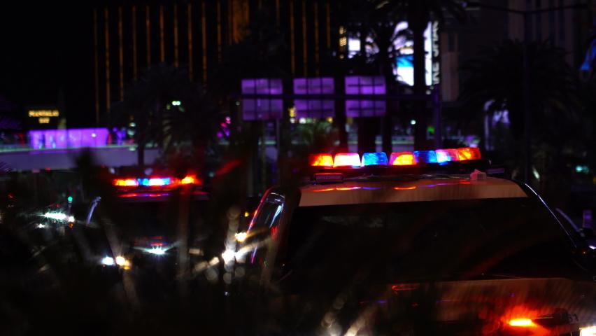 Las Vegas Strip Police Car Lights Flashing Crime Scene in Nevada USA | Shutterstock HD Video #1065733087
