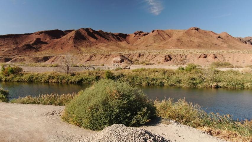 Las Vegas Wash Aerial Shot Fly Over River in Desert Near Lake Mead Nevada USA | Shutterstock HD Video #1065733102