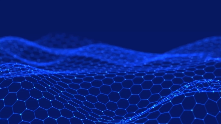 Data technology illustration. Abstract wave with connecting dots and lines. Digital background. 3d rendering. Seamless loop. 4k Royalty-Free Stock Footage #1065737242