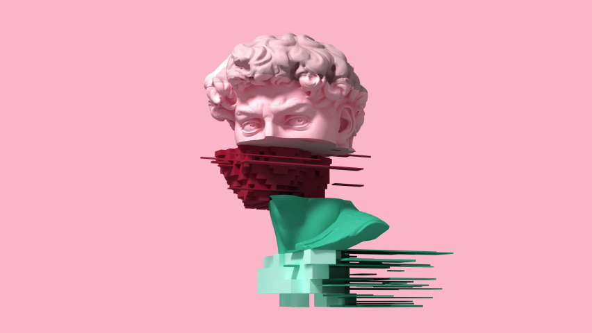 3d glitch of David head on pink background. 3D animation. 4K. Ultra high definition. 3840x2160.