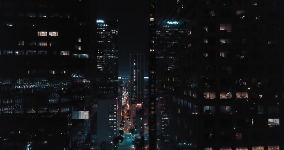 Cinematic LA Downtown Night Aerial - Office Buildings 4K | Shutterstock HD Video #1065792811